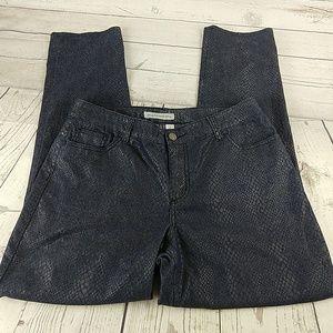 Chico's Platinum snakeskin denim jeans 2 12